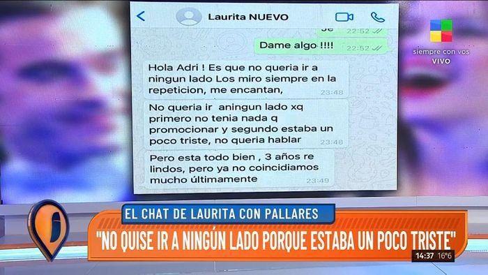 El chat de Laurita Fernández contando sobre su separación.