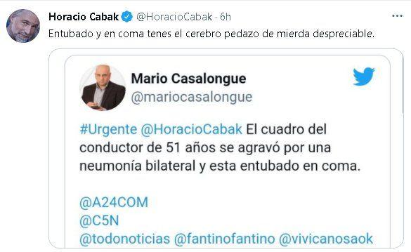 Horacio Cabak desmintió la noticia con un mensaje contundente en Twitter
