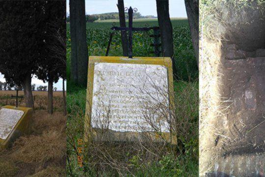 El monumento conmemorativo de la batalla de La Verde contiene una placa y una cruz