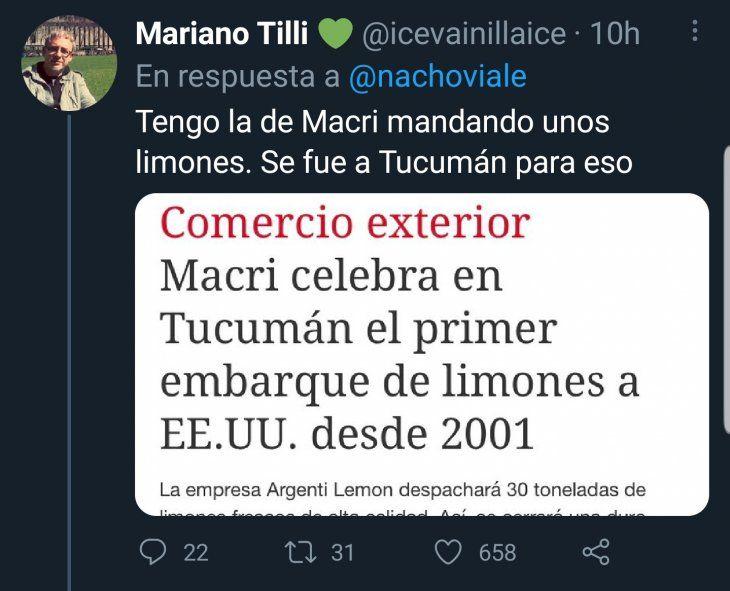 Por su cercanía a Mauricio Macri, en Twitter le recordaron a Nacho Viale cuando el ex Presidente acompañó el envío de limones a los Estados Unidos