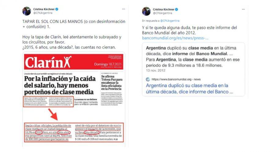 La vicepresidentaCristina Fernández de Kirchnercuestionó este domingo la tapa del diario Clarín que refirió a una supuesta reducción de la clase media en la Ciudad de Buenos Aires.