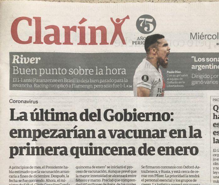 La portada de Clarín de hoy. Más periodismo militante no se consigue