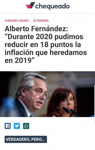 """La publicación de """"Chequeado"""" acerca de la aseveración del presidente Alberto Fernández sobre los números de inflación mereció la calificación de """"verdadero, pero"""""""