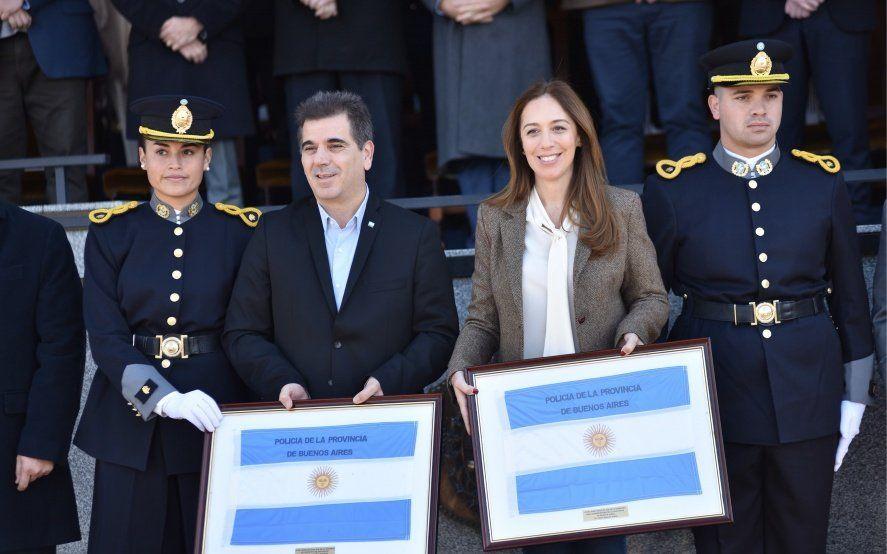 Vidal y Ritondo, candidato a Diputado Nacional, juntos en la jura a la bandera en la Vucetich