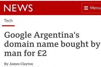 La portada del artículo de la BBC que cuenta la historia del joven argentino que compró el dominio de Google en nuestro país
