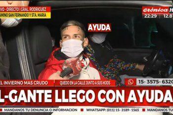 Ayuda 420: L-Gante se acercó a colaborar con una familia de General Rodríguez que sufrió un incendio.