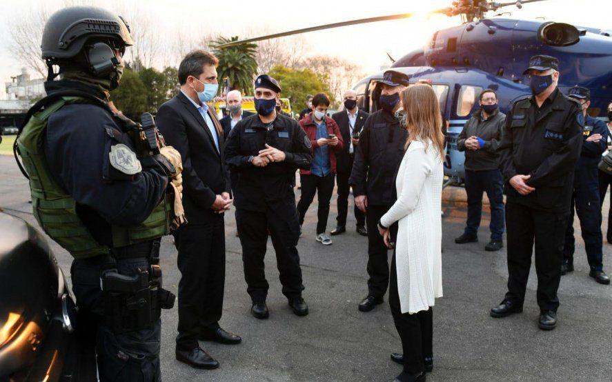 Massa y Fréderic recorrieron el Cuartel Isla Demarchi de la Policía Federal Argentina