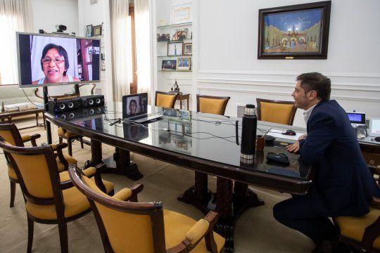 Desde su despacho en La Plata, Axel Kicillof conversó con Milagro Sala.