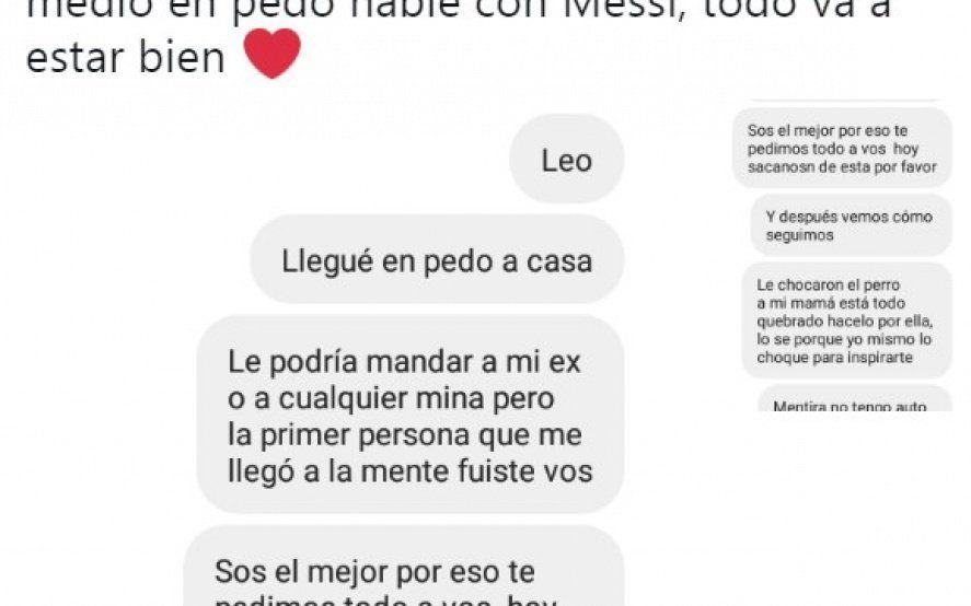 Estaba borracho, le escribió un mensaje a Messi y se volvio viral