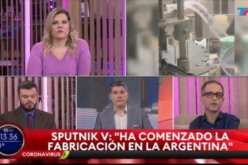 A juzgar por sus rostros, los periodistas de TN no se veían muy felices de tener que dar la buena noticia de la fabricación nacional de la vacuna Sputnik V