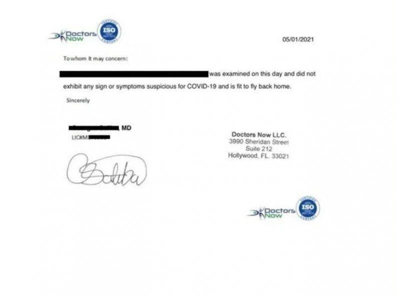 El certificado que no se sabe si es real o apócrifo que presentó para poder volar como si fuera un PCR. El que se jixo dio positivo en la Florida. Fuente : Clarín.