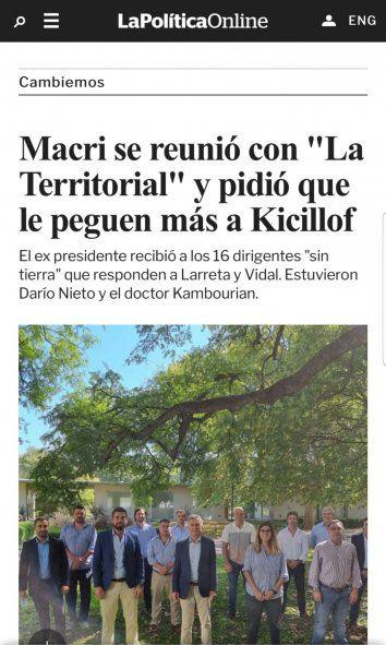 El artículo periodístico al que alude el gobernador Kicillof para sustentar su denuncia de un operativo armado por Mauricio Macri para golpear su imagen