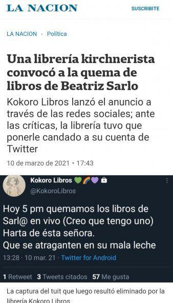 La Nación interpretó literalmente un tweet de una librería que hablaba de quemar libros de Sarlo irónicamente