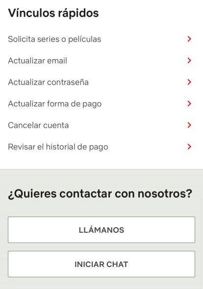 Cómo iniciar el chat de ayuda en la página de soporte de Netflix
