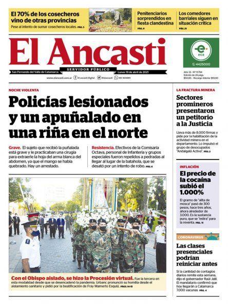Tapa de la edición impresa del medio, donde también salió publicada la noticia.