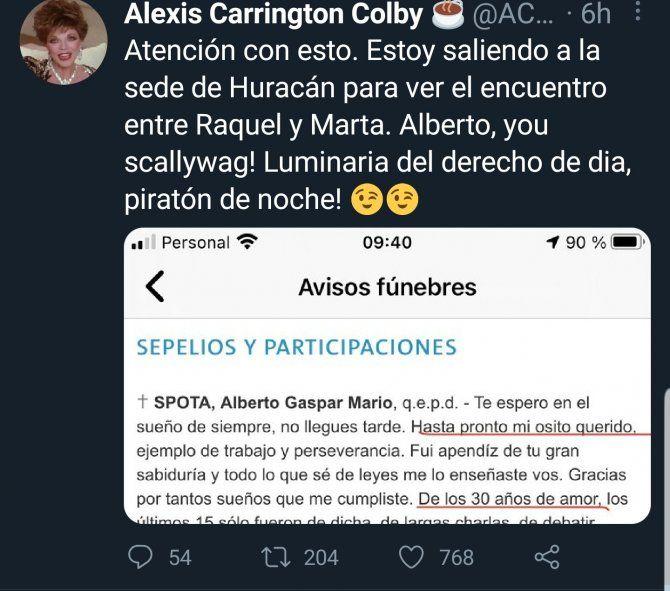 La cuenta de Twitter que dio a conocer los avisos fúnebres de la amante y la esposa del finado