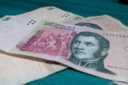 san martin vigente 30 dias mas: postergan un mes la salida de circulacion del billete de 5 pesos