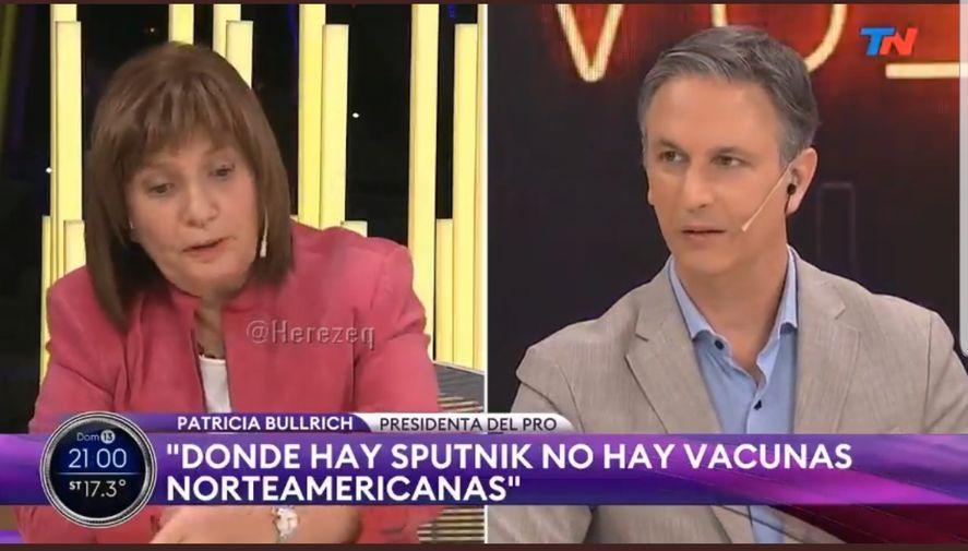 Patricia Bullrich volvió a deslizar una teoría sin pruebas. Esta vez dijo que la vacuna Pfizer no ingresa en países en los cuales se da Sputnik. La realidad la contradijo