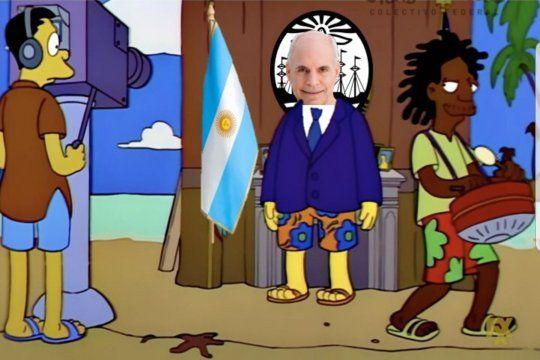 La comparación de Horacio Rodríguez Larreta con el alcalde Diamante de Los Simpsons, inundó las redes debido a la similitud al momento de tomarse vacaciones