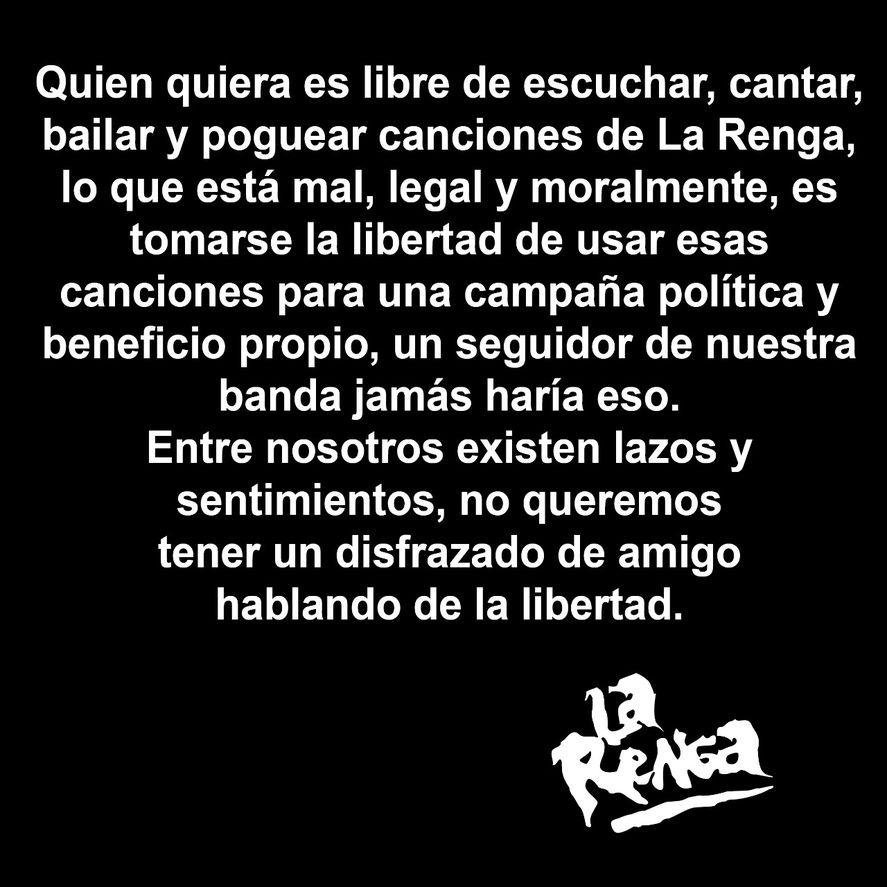 El comunicado completo de La Renga repudiando la utilización política que Javier Milei realiza de sus temas en nombre de
