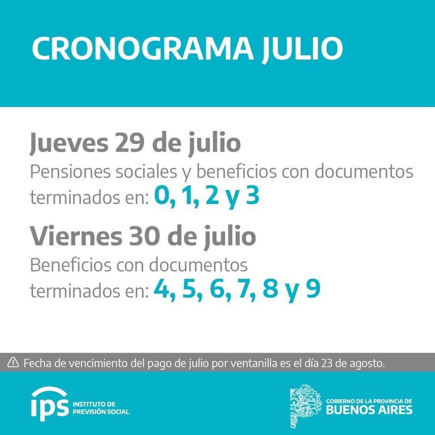 El IPS difundió el calendario de pagos de julio