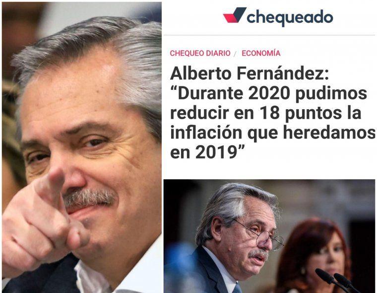 El Presidente Alberto Fernández le respondió a Chequeado sobre los números de inflación de 2020 en relación a 2019