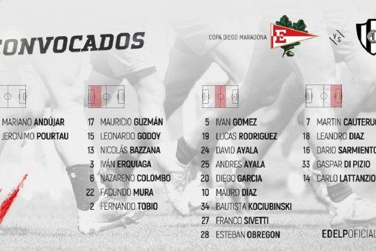 Lista de concentrados de Estudiantes para recibir a Central Córdoba