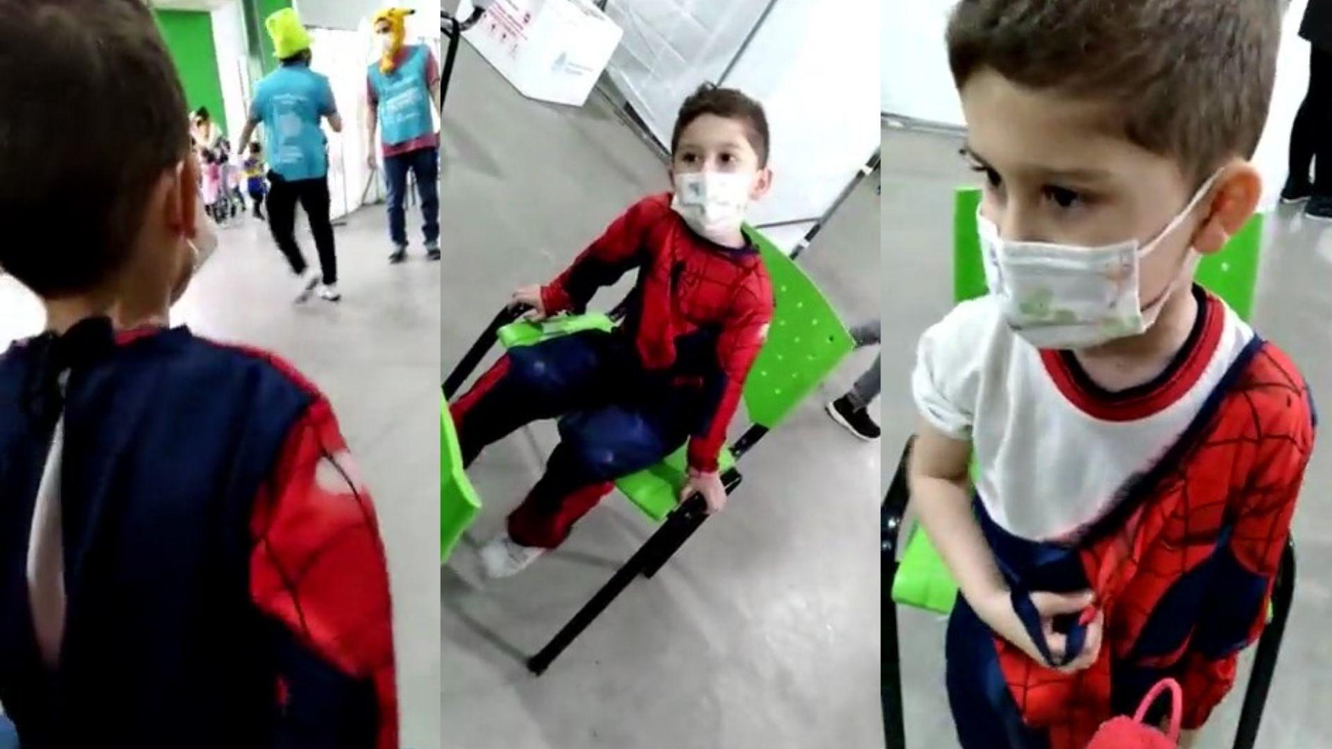 En la provincia de Buenos Aires vacunaron a un niño disfrazado de Superman