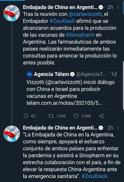 El Embajador de China, Zou Xiaoli comunicó desde la cuenta oficial de Twitter de la embajada, la facilitacion de los términos para la fabricación de la vacuna Sinopharm en Argentina