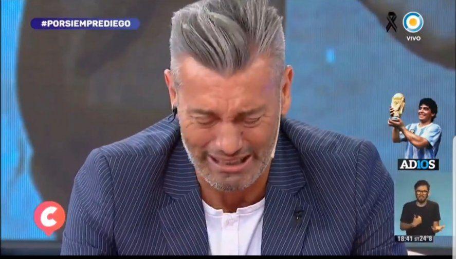 Sergio Goycochea no consigue contener el llanto al relatar