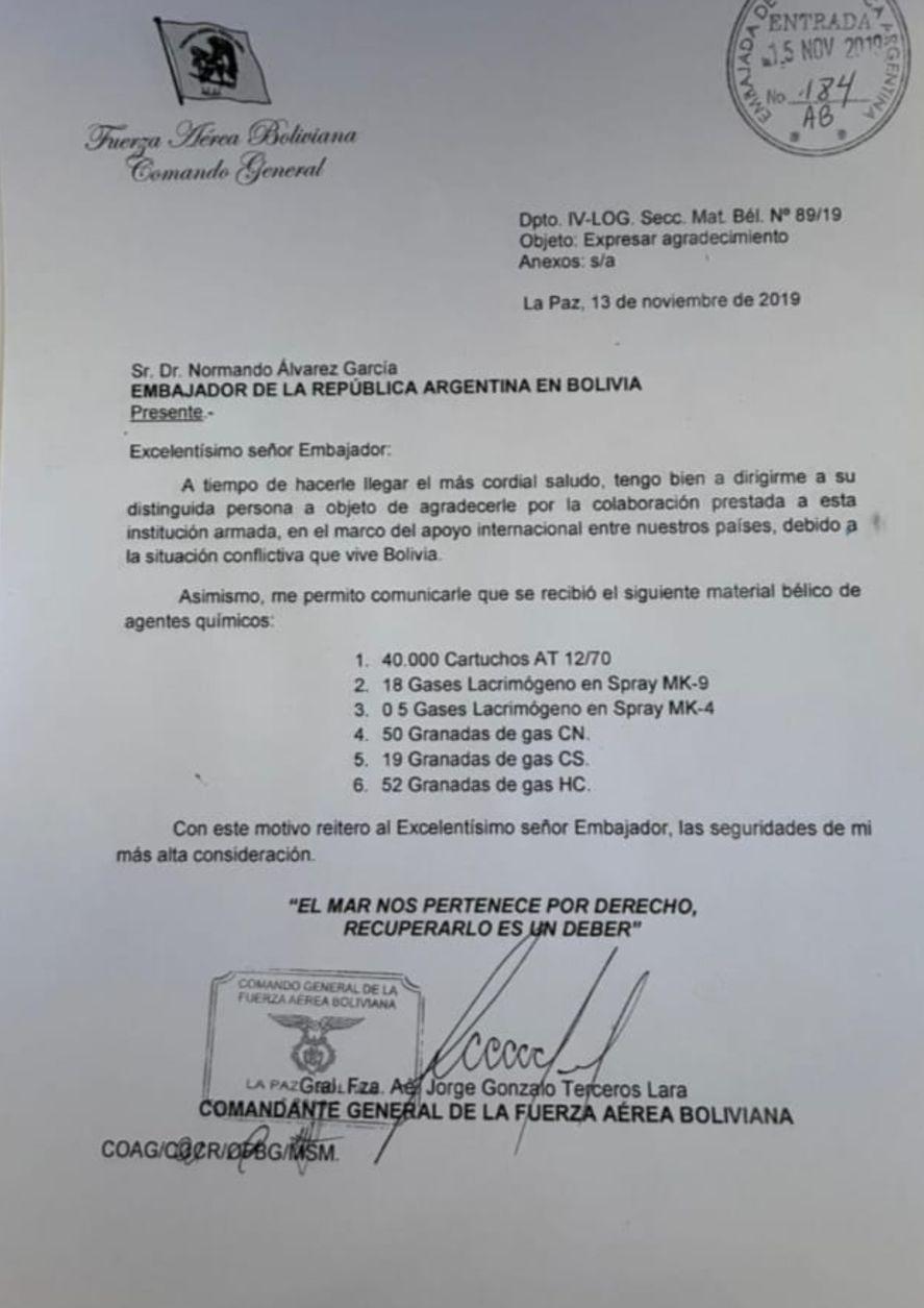 La nota dada a conocer ayer por el Ministro de Relaciones exteriores de Bolivia que certifica que el gobierno argentino de Mauricio Macri colaboró con pertrechos bélicos químicos para la represión posterior al golpe de estado