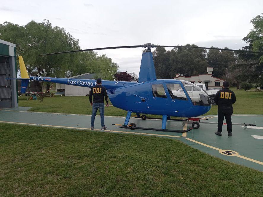 El helicóptero incautado en los procedimientos policiales