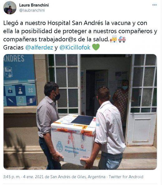 Branchini celebraba a principios de enero la llegada de la vacuna a San Andrés de Giles. Se la aplicó antes de que corresponda.