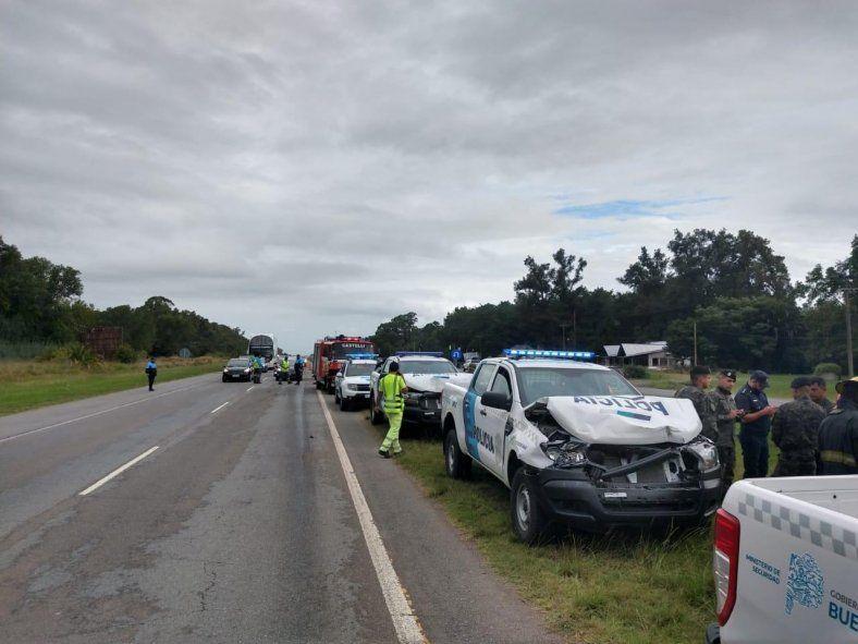 Ocho patrulleros protagonizaron un choque en la ruta 2. Foto: Riva Digital.