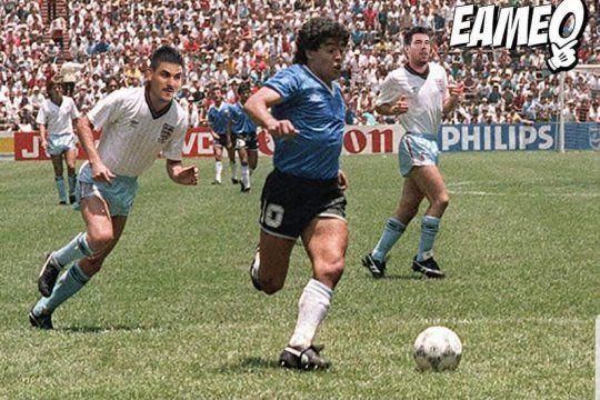 La creación de la cuenta EAMEO que muestra a Maradona esquivando a los rugbiers de Los Pumas como a los ingleses.