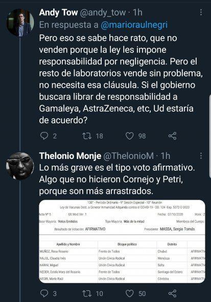 Algunos tweets que le replican a Mario Negri por pedir que la empresa Pfizer participe en la confección de los límites de la ley, y por no aclarar que él además voto a favor de la legislación