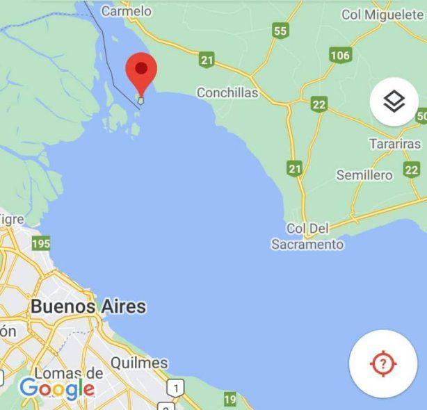 La ubicación exacta de las Islas Martín García y Timoteo Domínguez que unen con frontera terrestre Argentina y Uruguay en el medio del delta del Río de la Plata