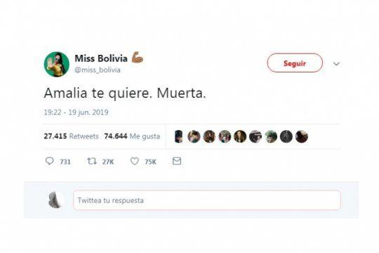 miss bolivia repudio los dichos de granata sobre los abortos clandestinos: ?amalia te quiere. muerta?