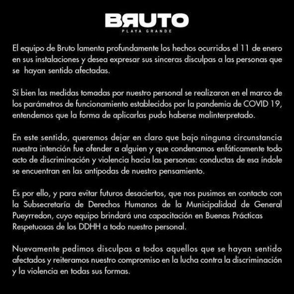 El boliche Bruto de Mar del Plata publicó un comunicado en sus redes sociales