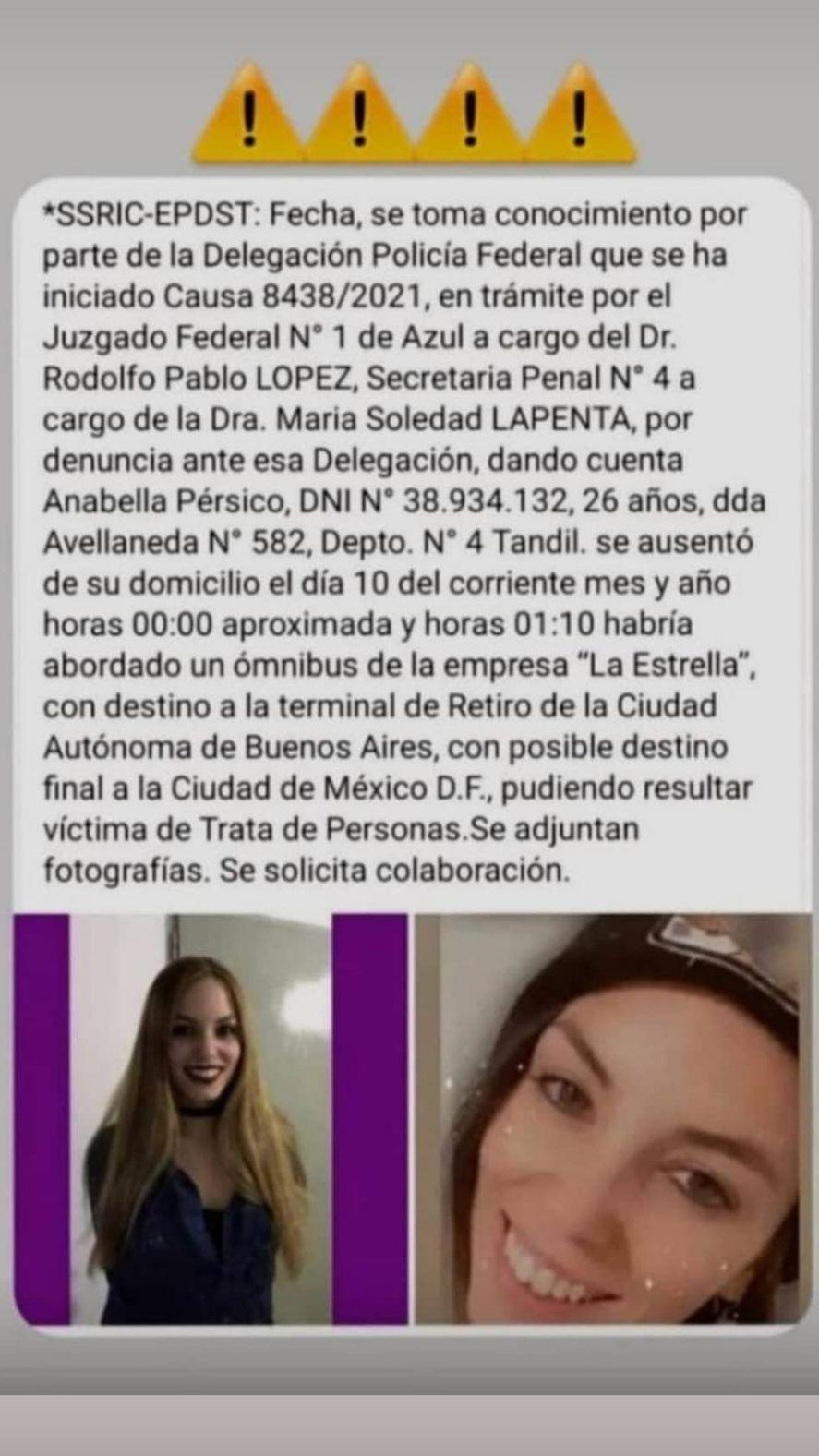 La búsqueda de Anabella, desaparecida en Tandil, se compartió en redes sociales