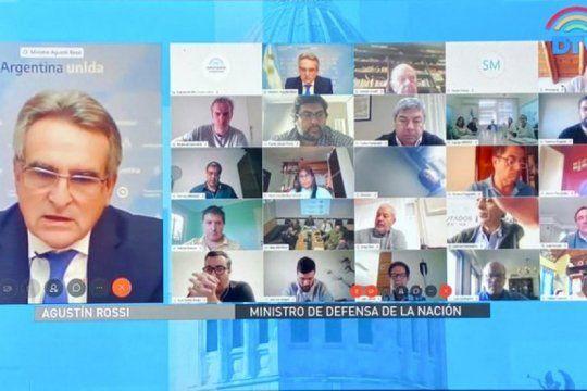 el ministro de defensa, agustin rossi, dio informes a diputados por teleconferencia