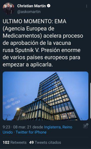 El periodista argentino radicado en Londres, Christian Martin explica la situación al día de hoy en la EMA, la agencia europea que aprueba los medicamentos