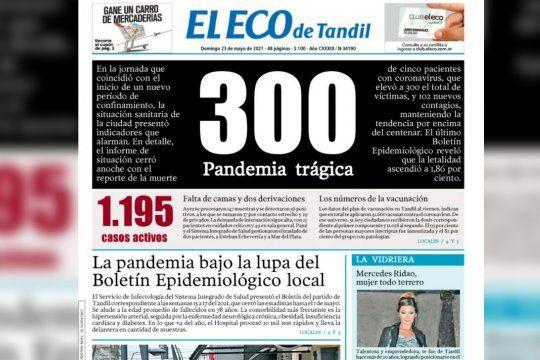 un diario de tandil lanzo una tapa de luto ante la dramatica situacion sanitaria que atraviesa ciudad