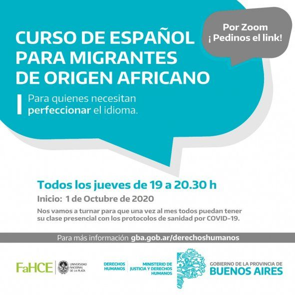 Cursos gratuitos de español para migrantes que residan en La Plata