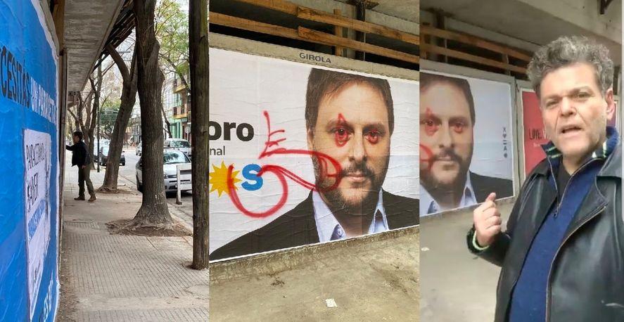 Alfredo Casero pintó un pene en un afiche de Leandro Santoro