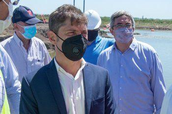 Axel Kicillof, durante los anuncios de este mediodía, en Roque Pérez.