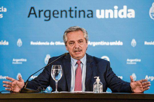 El presidente de la Nacion, Alberto Fernández