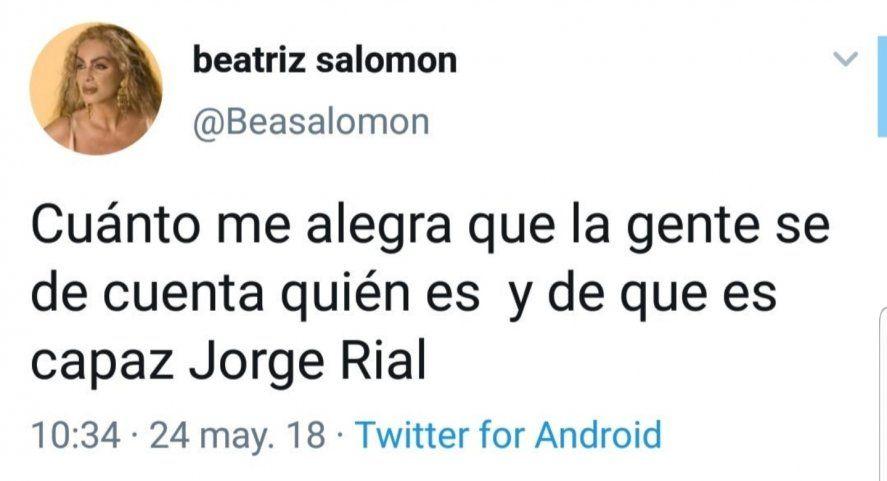 El Tweet de Beatriz Salomón de 2018 vuelve cada vez que Rial es tendencia