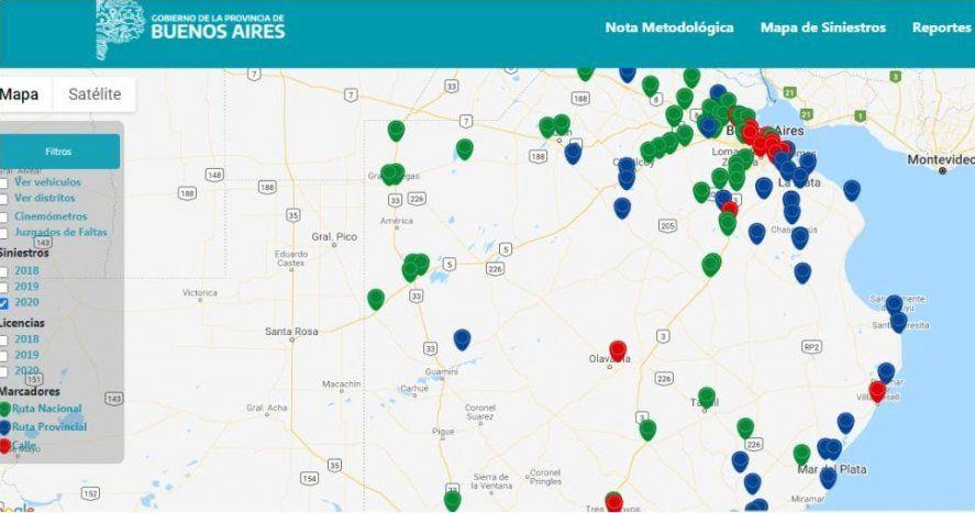 Lanzan mapa con los siniestros viales de toda la Provincia