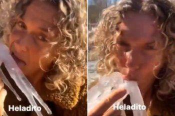 Capturas del video que subió Maru Botana a su Instagram chupando un hielo. Luego lo borró por el escándalo que se generó el domingo